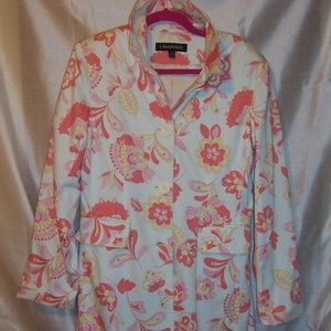 1 Madison White w/ Floral Trench Coat